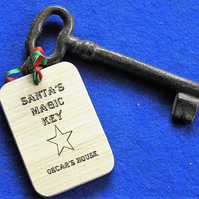 Magic key for Father Christmas with personalised key fob with childs name