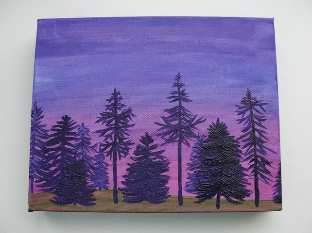 'Pine Forrest' - Acrylic on Box Canvas Purples  25cm x 20cm