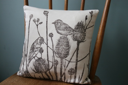 Bird Print, Linen Cushion Cover 40 cm x 40 cm, Square, Hand Printed