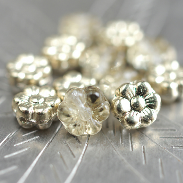 Czech small flower spacer daisy glass beads 5 mm pack of 50