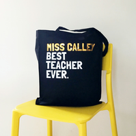 Personalised Best Teacher Tote Bag