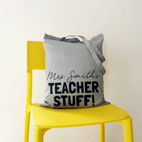 Personalised Teacher Stuff Tote Bag