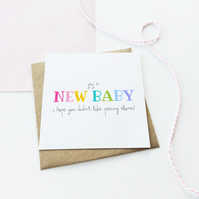 Peeing Alone New Baby Card