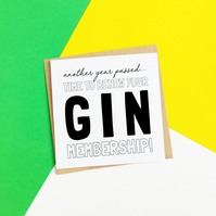 Gin Membership Birthday Card