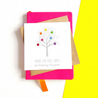 Personalised Apple Tree Teacher Card