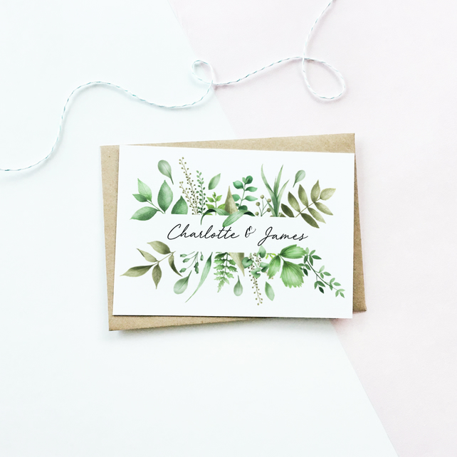 Personalised Botanical Engagement Card