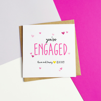 Love Hearts Personalised Engagement Card