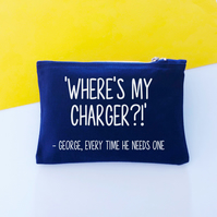 Personalised Where's My Charger Storage Bag