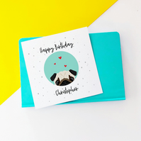Personalised Pug Birthday Card