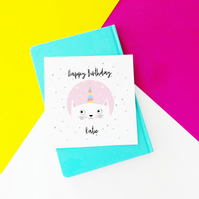 Personalised Cat Unicorn Birthday Card