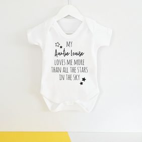 Personalised Auntie or Uncle All Of The Stars Babygrow