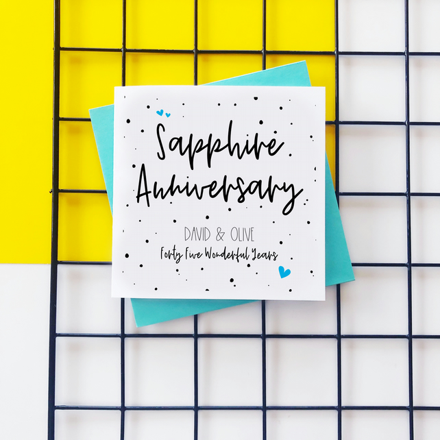 Personalised Sapphire Anniversary Card