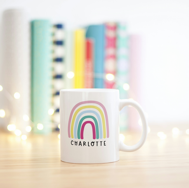 Personalised Bright Rainbow Mug