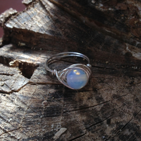 SMALL - Opalite Moonstone Wire Wrapped Beaded Ring