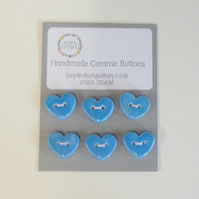 Handmade Ceramic Heart Buttons