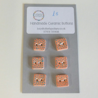 Handmade Ceramic Square Buttons