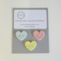 Handmade Ceramic Lacy Heart Buttons