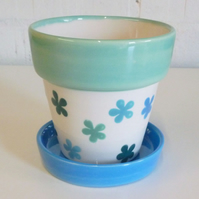 Hand Painted Plant Pot & Tray