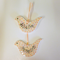 Personalised Pearlescent Wedding Birdie Hanger