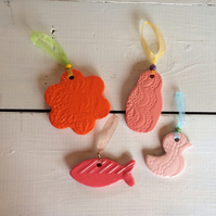 Set of 4 Handmade Ceramic Hangers