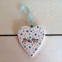 'Mr & Mrs' Ceramic Heart Hanger