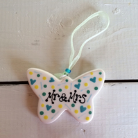 'Mr & Mrs' Ceramic Butterfly Hanger