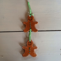 Handmade Ceramic Double Gingerbread Man Hanger