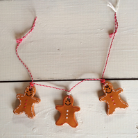 Handmade Ceramic Mini Gingerbread Man Bunting