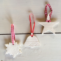 Set of 3 Handmade Ceramic Christmas Hangers