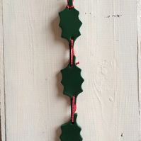 Handmade Ceramic Triple Holly Hanger