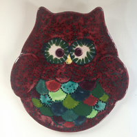 Hand Painted Ceramic Owl Plate