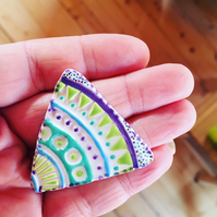 Handmade Geometric Ceramic Brooch