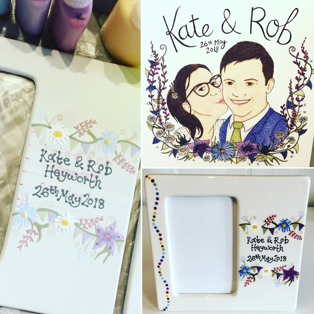 Personalised Ceramic Wedding Photo frame
