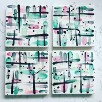 Set of 4 Ceramic Coasters