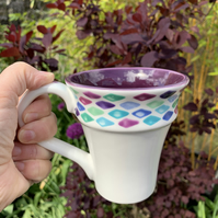 SALE Hand Painted Fluted Mug