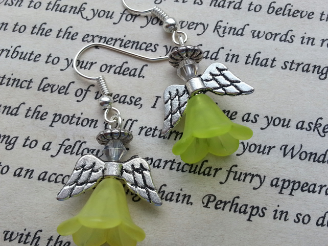 Christmas, Guardian Angel, Holiday Dangle Earrings in Light Yellow