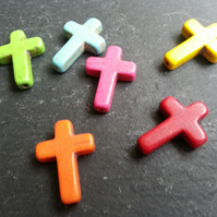 Mixed Coloured Cross Beads Dyed Howlite  x6