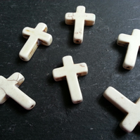 Howlite White Cross Beads Dyed x6