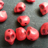 Howlite Small Red Coloured Skull Beads Dyed   x10