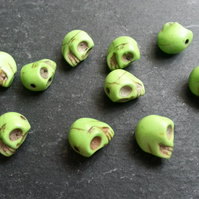 Howlite Small Green Coloured Skull Beads Dyed   x10