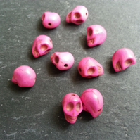 Howlite Small Pink Coloured Skull Beads Dyed   x10