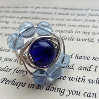 Wire Wrapped Blue Bead Ring, Statement ring, Fashion, Focal Ring,
