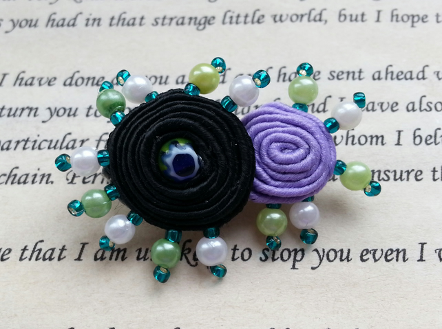 Soutache Pinwheel Brooch in Black and Purple with Green White Seed Bead Detail