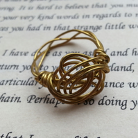 Handmade Celtic Love Knot brass Wire Wrapped Ring With Plaited Shank