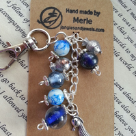 Beaded Handbag Charm, purse charm, Sea Horse and Fish in blue beads.