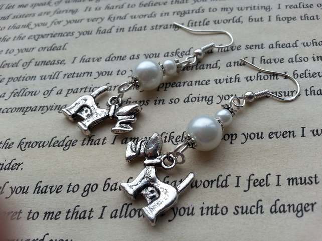 White Glass Pearl Terrier Dog Chram Fish Hook Dangle Earrings