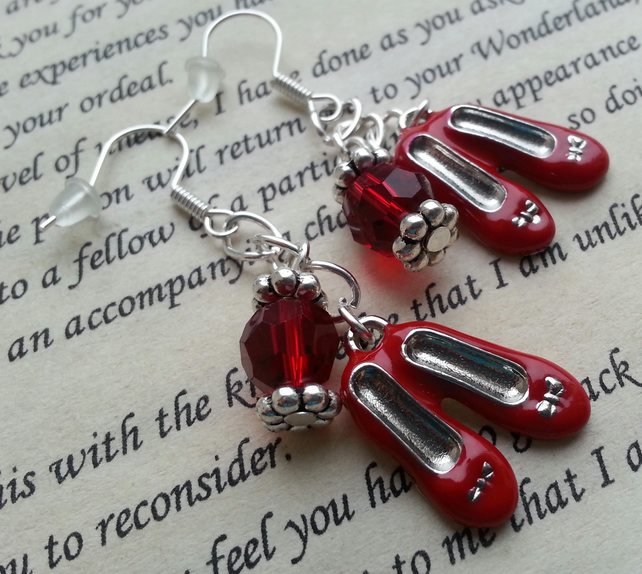 Wizard Of Oz Earrings, Dangle Earrings, Shoe Earrings, Red and Silver Earrings