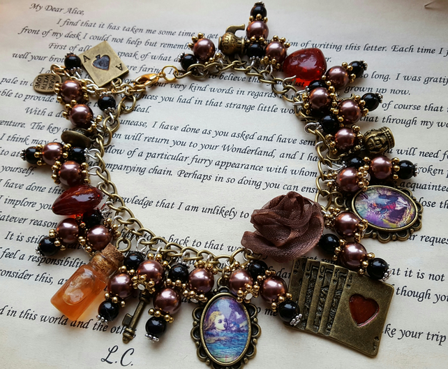 Alice in Wonderland Antique Gold Charm Bracelet With Black and Dark Gold Beads
