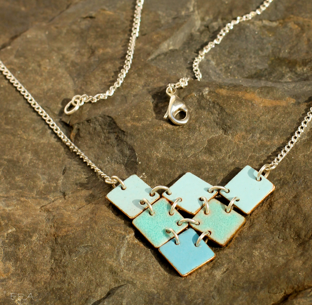 Armour inspired, blue enamel, triangle from squares necklace.