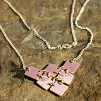 Armour inspired, purple enamel, triangle from squares necklace